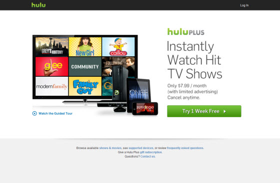 Hulu Plus homepage outside of the USA with Getflix