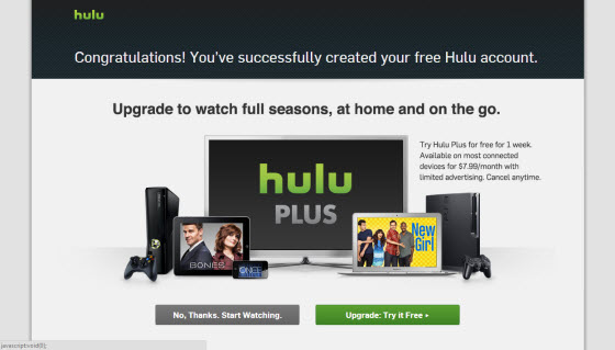 Hulu Plus upgrade page outside of the USA with Getflix