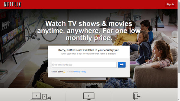 Netflix homepage when not available