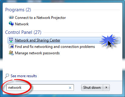 Windows 7 Open the Network and Sharing Center